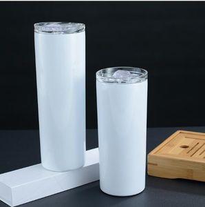 20 oz 30oz Sıska Tumblers Boş Süblimasyon Ince Fincan Kahve Kupalar Kapaklı ve Plastik Hasır Bira Kupalar Hızlı Kargo