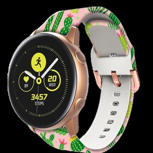 20mm Sile Band For Samsung Galaxy Watch 42mm Active 2 Watch 3 41mm Gear S2 Women Printing Strap Watchband For Ama qyleOw