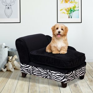 PawHut Pet Sofa, Dog Bed, Cat Couch with Storage and Cushion - Black
