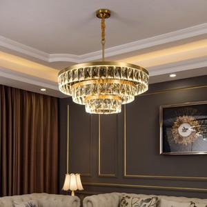 Lampadario in cristallo moderno lampada in rame corpo corpo oro luce soggiorno soggiorno sala da pranzo camera da letto rotonda illuminazione multistrato nuova lampada a led
