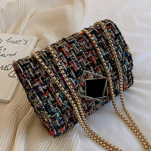 Personalized winter women knitting wool bags square lock decorated flap small chains ladies shoulder cross body bag colorful Q1119