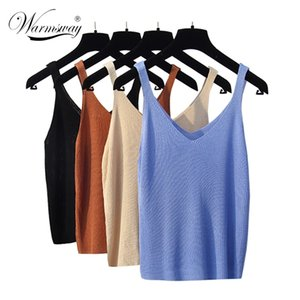 New Knitted Tank Tops Women Summer Camisole Vest Simple Loose Ladies V Neck Sexy Strappy Tee A-034