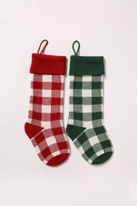 Knit Stockings Buffalo Check Stocking Plaid Xmas Socks Candy Gift Bag Indoor Christmas Decorations DHD1989