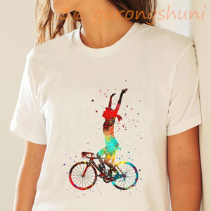 2020 summer watercolor print t shirt women Bicycle extreme sports Short sleeve tops tees female funny vogue tshirt streetwear1