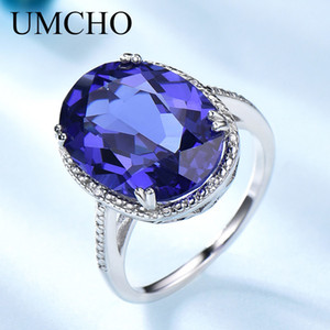 UMCHO Lüks Tanzanit Gemstone Yüzükler Kadınlar Için Katı 925 Ayar Gümüş Güzel Takı Kadın Nişan Yüzüğü Noel Hediyesi Z1121
