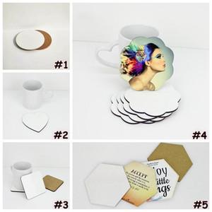 DIY Sublimation Leerer Untersetzer Holzkork Cup Pads MDF Werbegeschenk Förderung Liebe Runde Blume geformte Tasse Matten