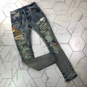 2men's angustiado rasgado jeans magro moda homens jeans moto moto moto motoniclo motom mens bicãs homens jeans calça hip hop homens jeans