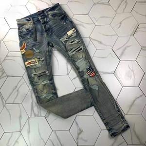 2 Men'in Sıkıntılı Yırtık Skinny Jeans Moda Erkek Kot Ince Motosiklet Moto Biker Nedensel Erkek Denim Pantolon Hip Hop Erkek Kot