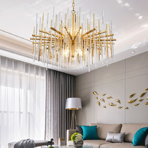 modern crystal lamp chandelier for living room lamps  golden round stainless steel chain chandeliers lighting