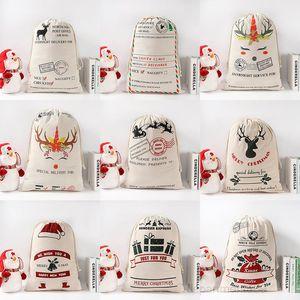 Gift Bags Cotton Canvas Sacks Monogrammable Santa Sack Drawstring Bag Christmas Decorations OWA2241