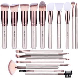 BS-Mall Facial Mask Brush Face Escova de Maquiagem Adequado para Fundação, Sombra dos Olhos, Blush Corretionador, Profissional Maquiagem Brush Tool Set 19-Piec