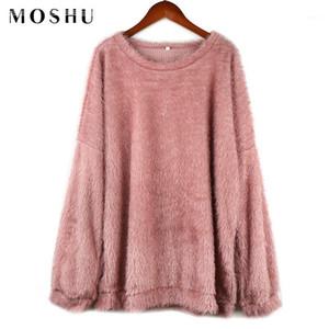 Moshu suéteres mujeres más tamaño sólido largo longitud o-cuello manga larga suéter femenino estilo coreano moda 2019 invierno jersey1