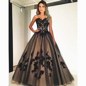 Black and Champagne A Line Wedding Dresses 2021 Chic Lace Applique Sweetheart Bride Robe De Marrige