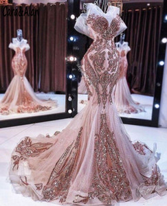 Rose Gold Evening Dress Mermaid Off the Shoulder Sparkly Sequin Applique Lace Sheer Neck Fishtail Prom Gown robe de soiree