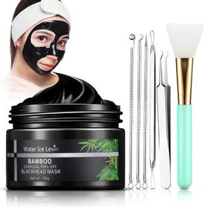3 en 1 Blackhead Mask Masque Peel Désactivé Active Bamboo Charboal déchirant avec une brosse Acne Ensemble sur Clear Pores Contrôle de l'huile anti-agingR