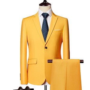 Korean Fashion Blazer + Suit Pants Handsome Men Work Business Slim Fit Suits Sets Wedding Dress Two Pieces