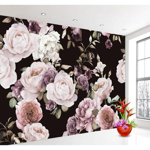 Custom 3d Wallpaper Mural Hand Painted Black White Rose Peony Flower Wall Mural Living Room Home Decor Pain jllUrm eatout