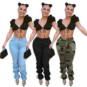 Pantalones de pierna ancha de color sólido Cintura alta Jeans para mujer 2020 Nuevos Damas de otoño Vendimia Moda Vintage Camuflag de mezclilla Pantalones