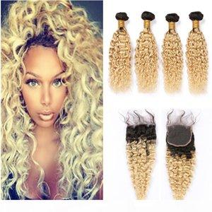 # 1B 613 Ombre волос девственницы Закрытие с 4Bundles Blonde Ombre переплетений перуанского Влажная и Волнистые человека Связки волос с Lace Closure Water Wave