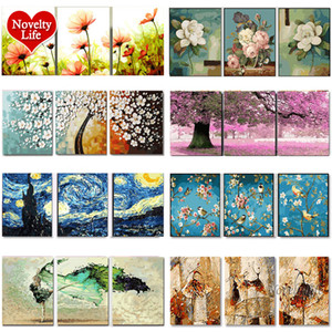 3 pcs DIY Oil Painting by Numbers Flower Triptych Pictures Animal Coloring Landscape Abstract Paint Wall Sticker Home Decor Gift Q1123