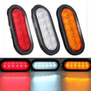 1 Pair 6 LED Oval Stop Turn Signal Tail Light Lamp Multi-function Clear Lens For Truck Trailer Tractor Semi-trailer Dump1