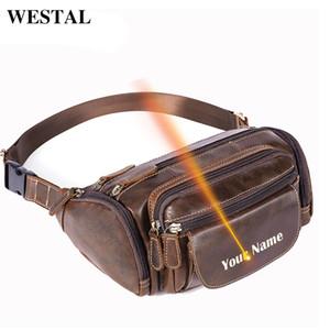 WESTAL Laser Engrave Men's Waist Bag Belt Men Leather Waist Packs Male Fanny Pack Money Belt Bags Travel Bum Hip Bag Genuine 835