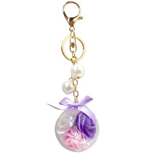 New Product Beautiful Eternal Flower Key Chain Korean Style Lovely Car Key Ring Bag Hanging Birthday Gift