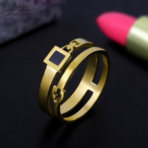 Fysara Geometry Design Square Chain Ring For Women Men Gold Color Stainless Steel Ring Bridal Sets Rings Fashion Engagement Gift sqceoX