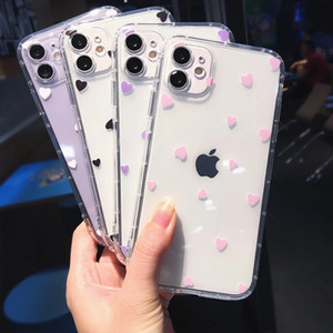 Cute Heart Shockproof Clear Phone Case For iPhone 12 Mini 11 Pro Max XR XS Max 7 8 Plus Soft Back Cover
