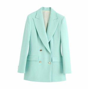 women 2020 casual blue linen za long blazer summer fashion double breasted long sleeve solid outwear jacket blazer femme B1203