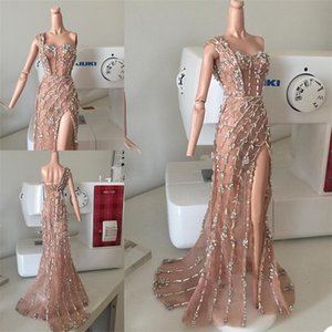 Real Image Pink Evening Dresses Luxury Beads Crystals Sexy Side Split Prom Gowns One Shoulder Sleeveless Custom Made Formal Party Dress