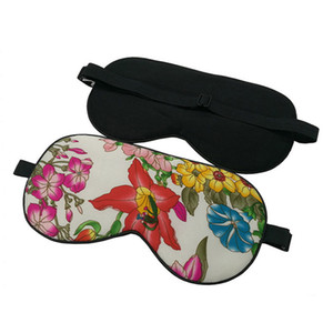 100% Pure Silk Sleep Eye Mask Floral Pattern Silk Eyeshade Soft Blindfold Travel Relax Aid Adjustable Multicolor