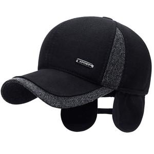 New Warm Mens Winter Wool Baseball Ear Flaps Brand Snapback Hats Thicken Cotton Fitted Gorra Hombre Trucker Cap