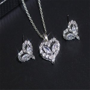 Cross-border Korean Love Heart Set Hot Sale Zircon Shiny Two-piece Wedding Necklace Earrings Heart Set Zirconium Set