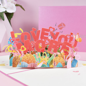 3D Pop UP Valentine Greeting Cards Love You More Valentine Gift Greeting Card Postcards with Envelope