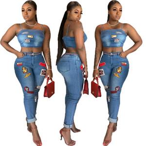 Polka Dot Cover Up ve Kalem Pantolon Için Giysi Satıcısı İki Adet Set Kadın Giyim