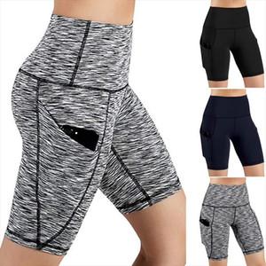 Striped Workout Leggings Women High Waist Legins Out Pocket Short Jeggings Female Running Athletic Pants Gyms Fitness Leggings