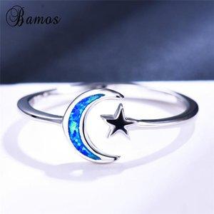 Mignon féminin lune star doigt bague fashion argent couleur blanche blue feu opal anneau promesse bague de fiançailles ouvertes pour femmes
