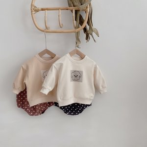 Autumn cute dog long sleeve sweatshirts and dot shorts 2 pcs sets Baby boys and girls cotton outfits Y1113