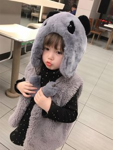 Cute Bear Baby Girls Beanie with Real Rex Fur Hat Earflaps White Gray Pink Panda Warm Child Caps