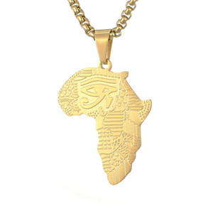 Hiphops Rap Jewelry 18K Gold Plated 316L Stainless Steel African Map Pendant Necklace For Men