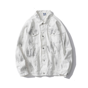 High street denim jacket men's loose ins Korean style trendy couple trendy brand fried street paint reflective jacket trendy