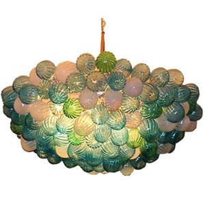 Blown Glass Chandelier Luxury Colored Ceiling Decorative LED lights E14 Modern led Chandeliers Art Glass ball pendant Lighting