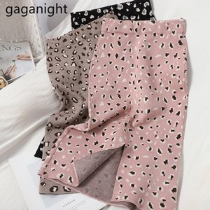 Gaganight Elegant Elegant Women Knee-Lenght Ufficio Lady High Waist Leopard A Line Gonne Chic Femmina Spalato Skirt Skirt Gonna Faldas Q1229