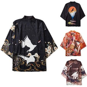 Hombres Mujeres Japonesa Kimonos Cardigan 2020 Pareja de verano Perrero solar Dimono fino Kimono Yukata Estilo chino Robe Spring Hombres Camisas1