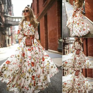 New 2019 Women Autumn Casual Boho Flower Long Dress Long Sleeve Evening Party High Waist Dresses