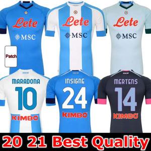 20 21 Napoli Jersey Jersey Nápoles Camisa de futebol 2020 2021 Koulibaly Camiseta de Fútbol Insigne Milik Maillots H.Lozano Mertens Men Kids
