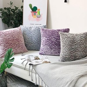 Solid Pink Rose Pillowcase Cozy Corduroy Decorative Throw Pillows Cover Velvet Cushion Cover for Bed Couch Sofa Chair