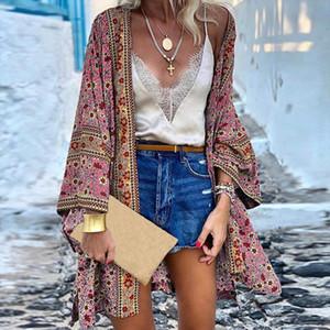 Women Kimono Cardigan Casual Vintage Ladies 2021 Long Crochet Chiffon Kimono Preto Loose Printed Blouse Tops