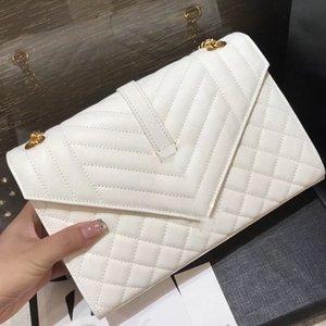 디자이너 어깨 가방 봉투 중간 가방 여성 핸드백 진짜 가죽 체인 클래식 가방 여성의 럭셔리 디자이너 핸드백 7 색